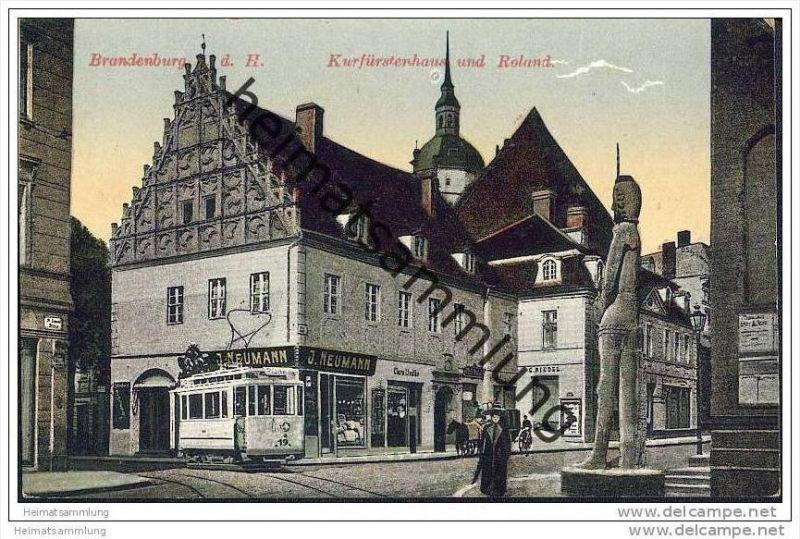 Brandenburg/Havel - Kurfürstenhaus mit Roland - Strassenbahn