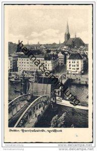 Stettin - Hansabrücke geöffnet - Foto-AK 30er Jahre