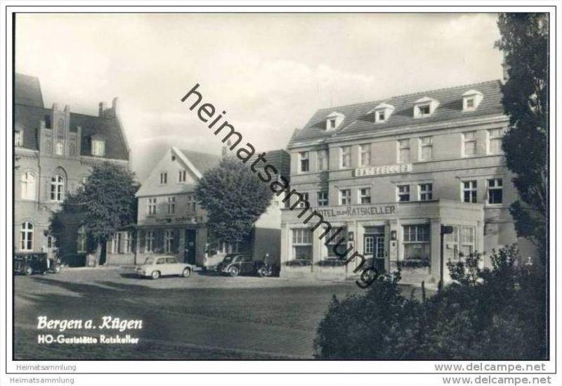 Bergen auf Rügen - HO-Gaststätte Ratskeller - Foto-AK 1959