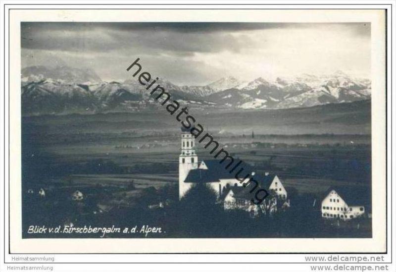 Blick von der Hirschbergalm auf Pähl und die Alpen - Foto-AK