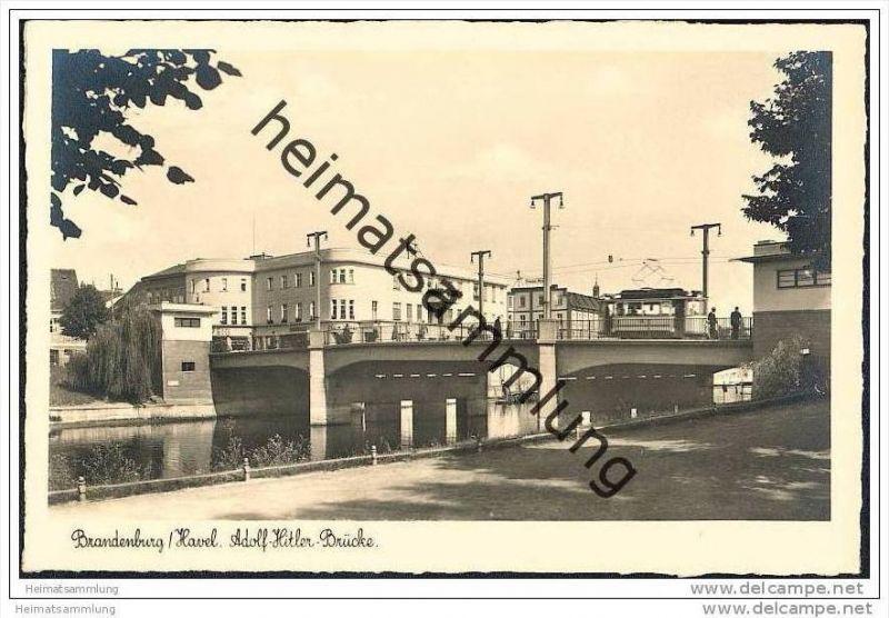 Brandenburg/Havel - Adolf Hitler Brücke - Strassenbahn - Foto-AK 30er Jahre