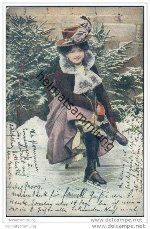Frau mit Schlittschuhen