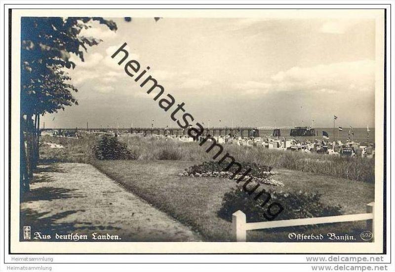Bansin auf Usedom - Motiv aus den Anlagen am Strande - Foto-AK ca. 1930