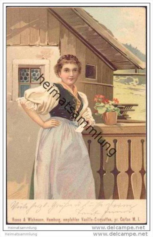 Vom schönen Land Tirol - Meissner & Buch - Werbekarte von Reese & Wichmann Hamburg für Vanille-Croquettes