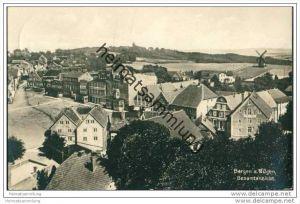 Bergen auf Rügen - Gesamtansicht - Windmühle - Foto-AK