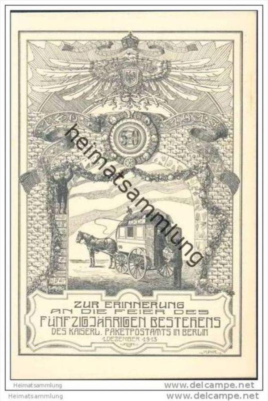 Berlin - Zur Erinnerung an die Feier des fünfzigjährigen Bestehens des kaiserlichen Paketpostamtes in Berlin