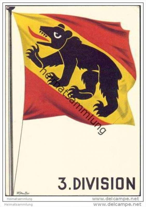 Militär - Soldatenkarte - 3. Division - Künstlerkarte signiert W. Stauffer - Feldpost