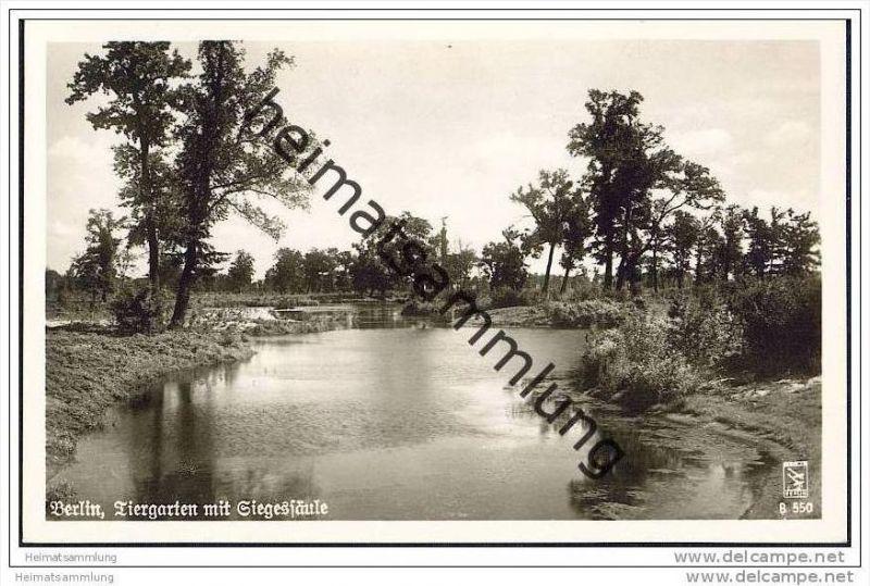 Berlin-Tiergarten - Tiergarten mit Siegessäule - Foto-AK 50er Jahre