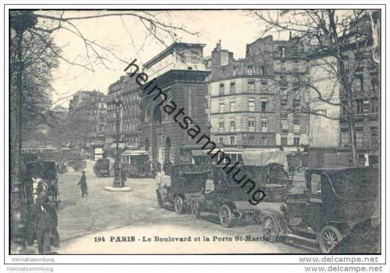 Paris - Le Boulevard et la Porte St. Martin - Strassenbahn