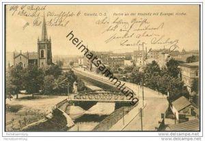 Gleiwitz - Partie an der Klodnitz mit evangelischer Kirche