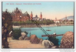 Zürich - Alpenquai - Rotes Schloss und Tonhalle