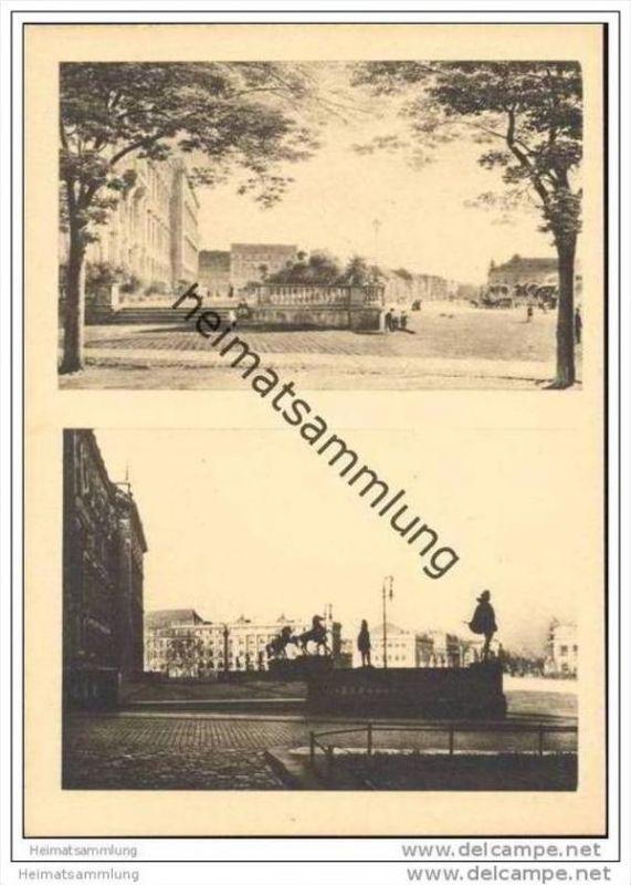 Einst und jetzt - Die Schlossterrasse im Jahre 1855 und Die Schlossterrasse mit Ausblick auf die Linden