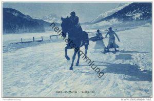 St. Moritz - Skikjöring - Wintersport - Verlag Wehrli AG Kilchberg Zürich - Rückseite beschrieben