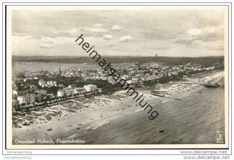 Ostseebad Ahlbeck - Fliegeraufnahme - Foto-AK 30er Jahre