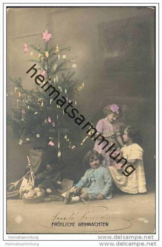 Weihnachten - Foto-AK - coloriert - Spielzeug - Teddy - Puppe