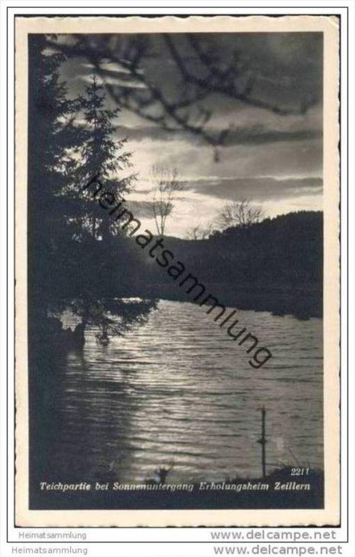 Amstetten - Teichpartie bei Sonnenuntergang - Erholungsheim Zeillern - Foto-AK