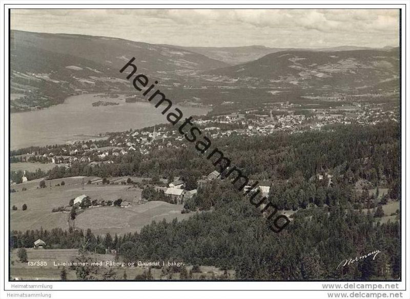 Lillehammer - med Faberg og Gausdal i bakgr. - Foto-AK Grossformat 30er Jahre