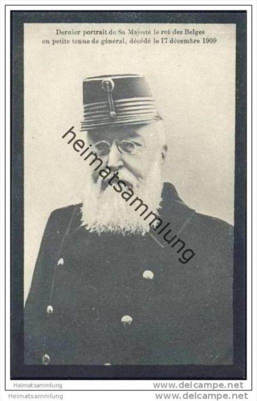 Dernier portrait - de Sa Majesté le roi des Belges en petit tenue de général - décédé le 17 décembre 1909