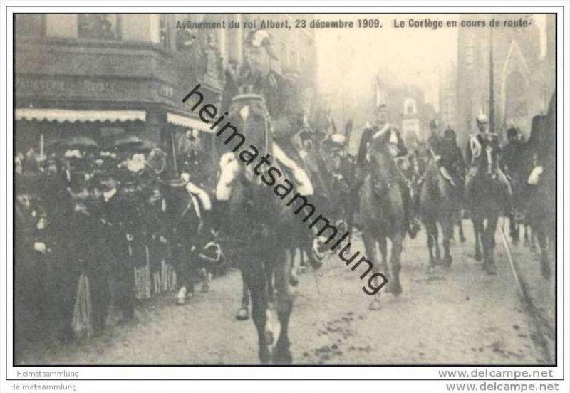 Avenement du roi Albert 23 décembre 1909 - Le Cortège en cours de route