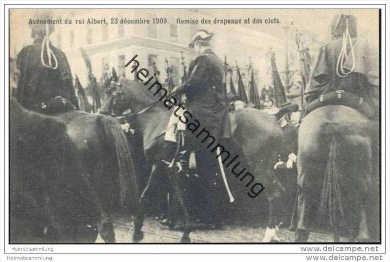 Avenement du roi Albert 23 décembre 1909 - Remise des drapeaux et des clefs