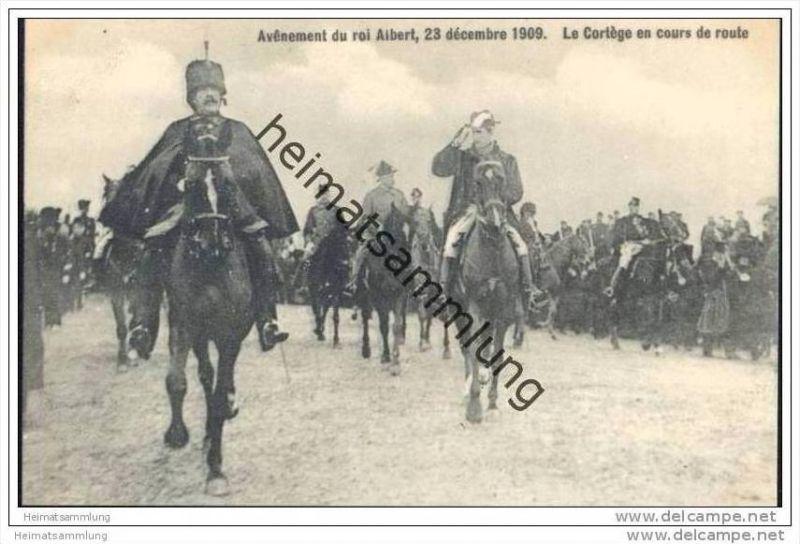 Avênement du roi Albert 23 décembre 1909 - Le Cortège en cours de route