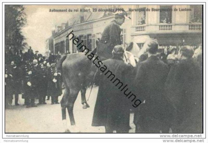 Avenement du roi Albert 23 décembre 1909 - Harangue du Bourgmestre de Laeken