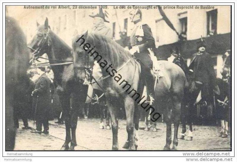 Avenement du roi Albert 23 décembre 1909 - Le duc de Connaught et le prince Ruprecht de Bavière