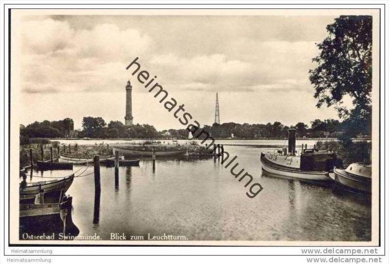 Ostseebad Swinemünde - Blick zum Leuchtturm - Foto-AK 30er Jahre