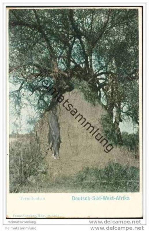 Deutsch-Südwest-Afrika - Termitenbau - Eingeborener