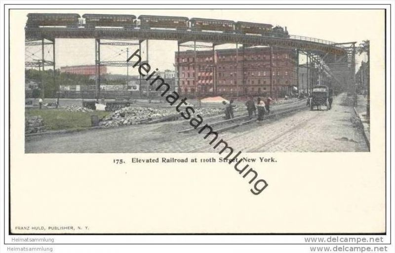 New York - Elevated Railroad at 110th street - Private Mailing Card ca. 1900