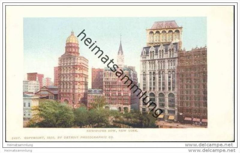 New York - Newspaper Row - Private Mailing Card 1900