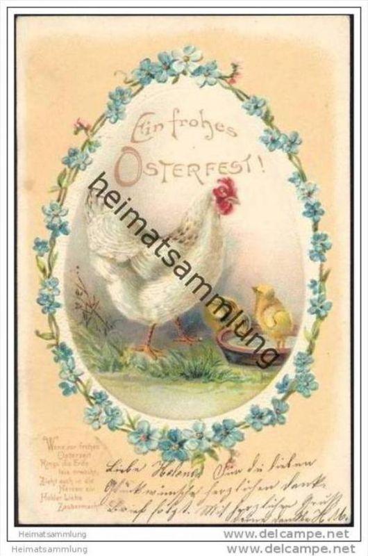 Ein frohes Osterfest - Küken - Huhn - Prägedruck