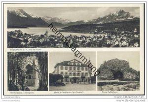 Küssnacht am Rigi und die Alpen - Werbekarte für das Hotel du Lac (Seehof) Besitzer A. Trutmann-Siegwart