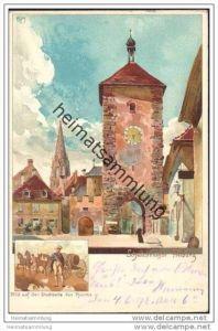 Freiburg - Schwabenthor - Künstlerkarte signiert Kley