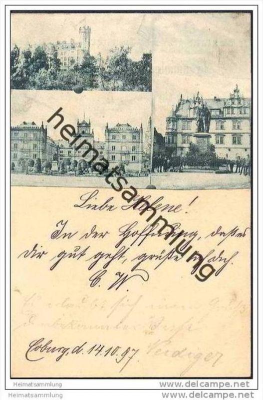 Coburg - Ganzsache - Bild aufgeklebt
