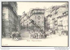 Portuguesa - Porto - Praca da Ribeira ca. 1900 - Ochsengespanne