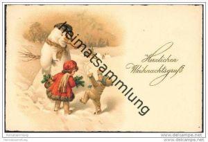 Weihnachten - Künstlerkarte - Kinder tanzen um den Schneemann