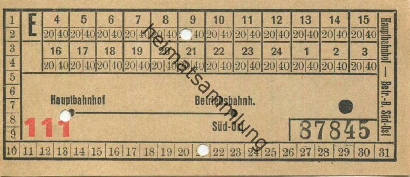 Deutschland - Magdeburg - Hauptbahnhof - Betriebsbahnhof - Strassenbahn Fahrschein 20er Jahre