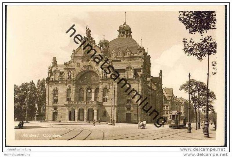 Nürnberg - Opernhaus - Strassenbahn - Foto-AK