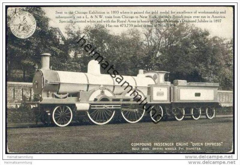 Eisenbahn - Compound passenger engine Queen Empress - London & North Western Railway Company - England 1904