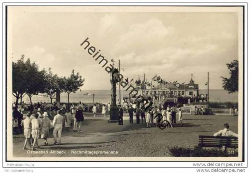Ostseebad Ahlbeck - Nachmittagspromenade - Foto-AK 30er Jahre