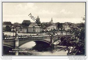 Frankfurt / Oder - Blick auf die Oderbrücke - Foto-AK 20er Jahre