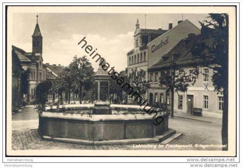 Lichtenberg im Frankenwald - Kriegerdenkmal - Foto-AK 30er Jahre