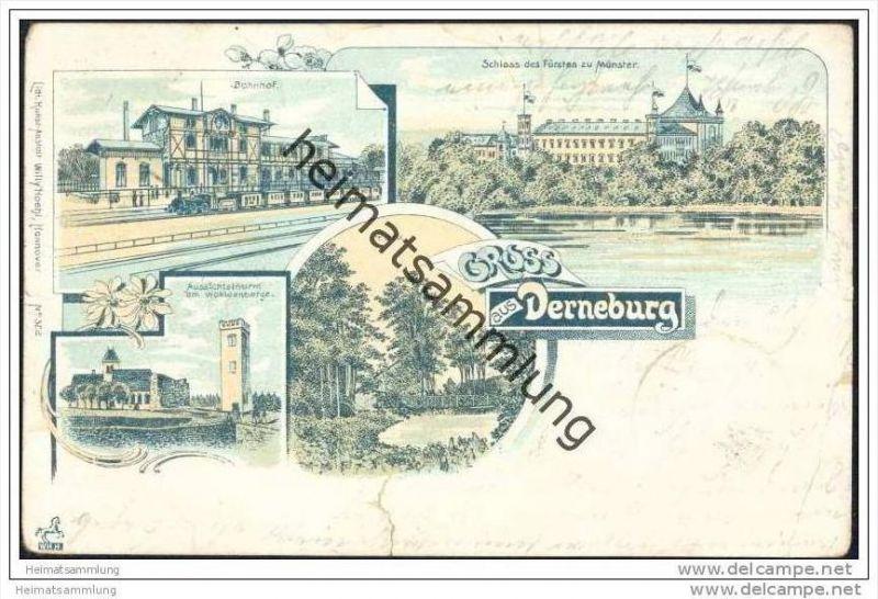 Gruss aus Derneburg - Lithografie - Bahnhof - Schloss - Wohldenberge - Park