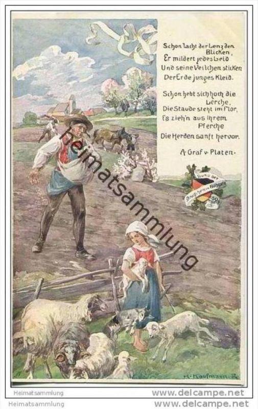 Bauer - Schafe - signiert H. Kaufmann - Bund der Deutschen in Böhmen