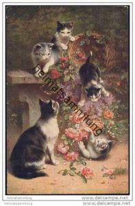spielende Katzen mit einem Korb voller Rosen - Künstlerkarte C. Reichert