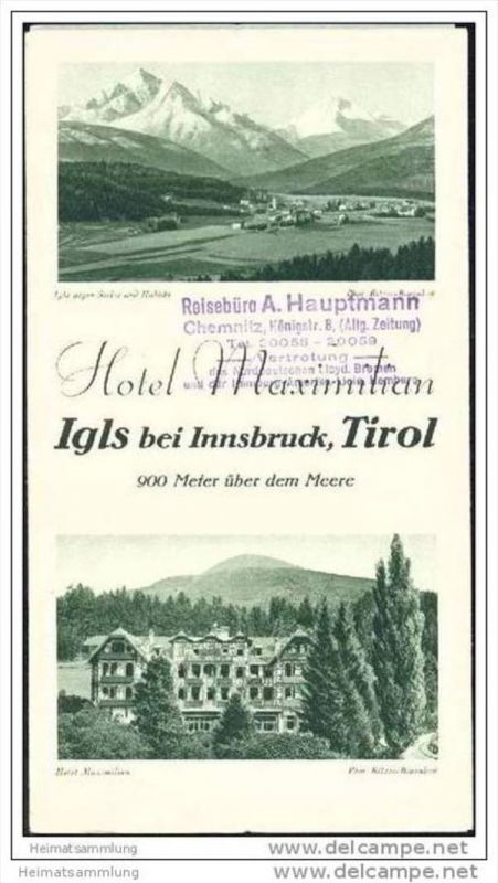 Igls 1932 - Hotel Maximilian- Faltblatt mit 9 Abbildungen
