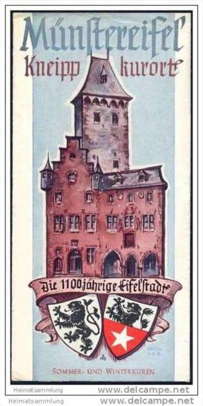 Münstereifel 1953 - Faltblatt mit 10 Abbildungen - Stadtplan