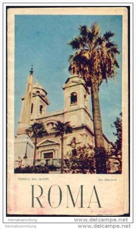 Roma 1954 - Faltblatt mit 7 Abbildungen - Stadtplan - Wissenswertes für den Touristen