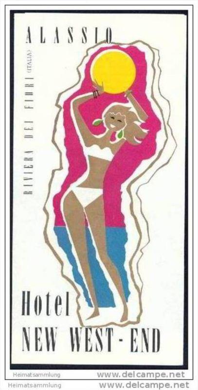 Alassio 70er Jahre - Hotel New West End - Faltblatt mit 8 Abbildungen